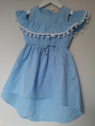 Blue Cold Should Pompom Dress