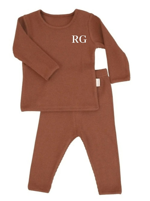 Caramel embroidered personalised luxury ribbed lounge wear