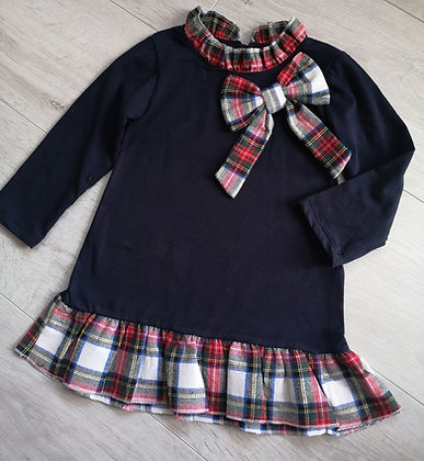 Navy tartan bow dress