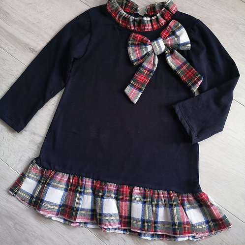Navy tartan bow dress