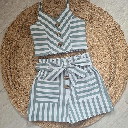 Grey striped crop cami & high waist shorts