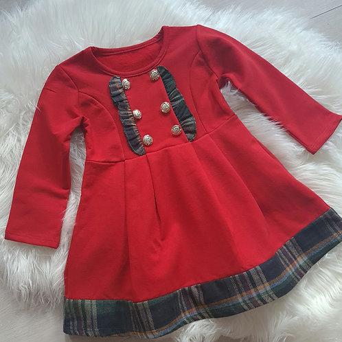 Red fleece lined dress with navy tartan trim