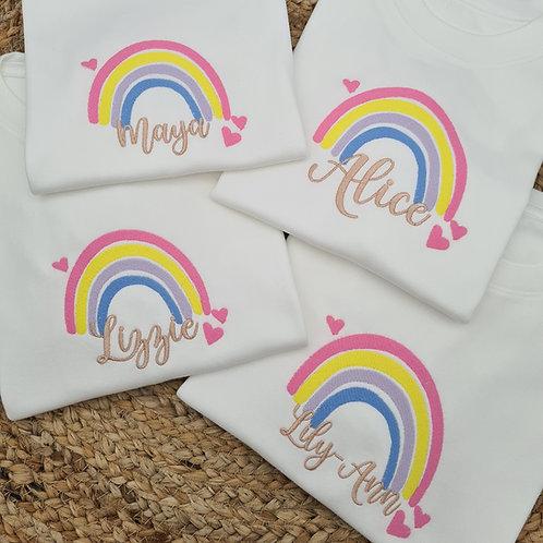 Embroidered Personalised rainbow tee