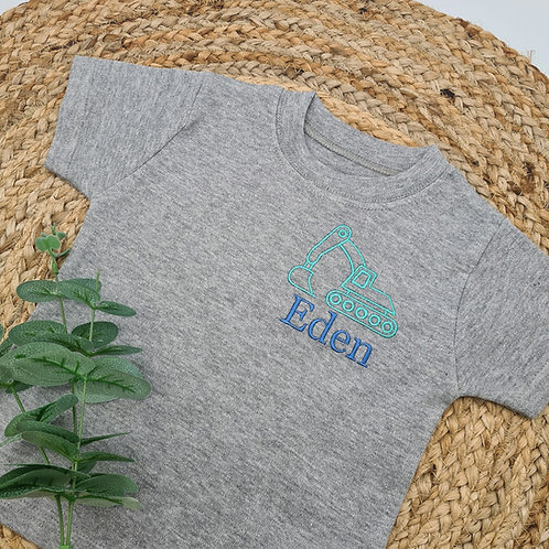Embroidered Personalised digger tee