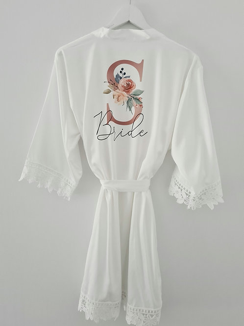 Adults personalised wedding lace robe