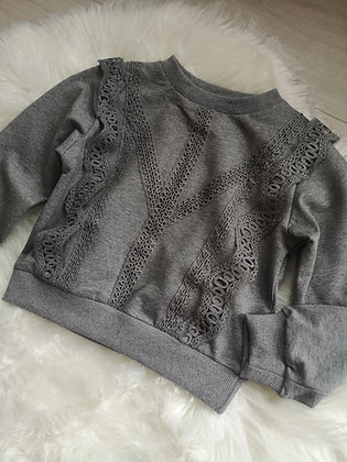Grey Lace Ruffle Jumper