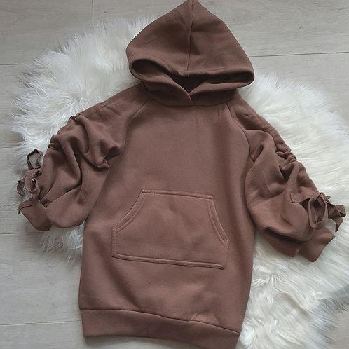 Ruffled sleeve hoody