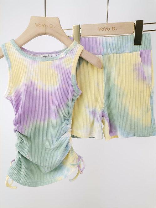 Green/ purple tie dye ruffle top & shorts