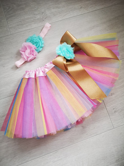 Pastel Rainbow Tutu & Headband Set