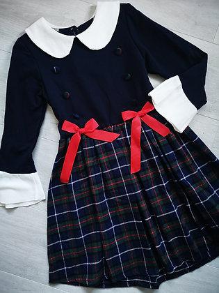 Navy Tartan Dress