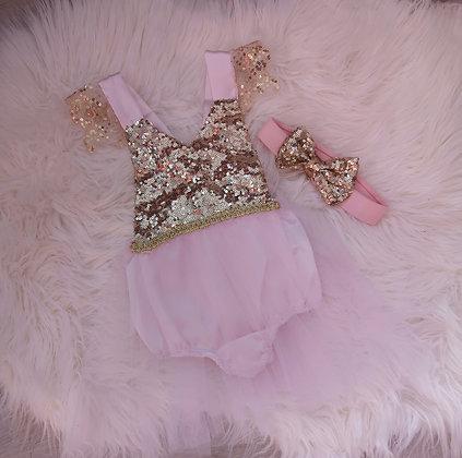 Pink & Gold Sequin Romper