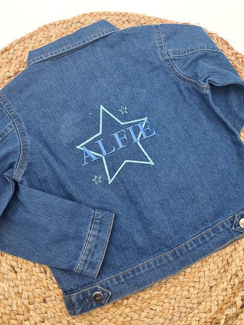 Personalised denim jacket star design