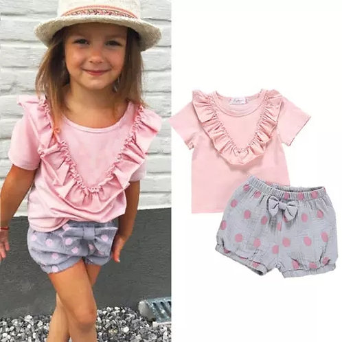 Pink Ruffle Top & Shorts