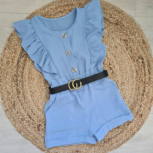 Blue ruffle playsuit with belt