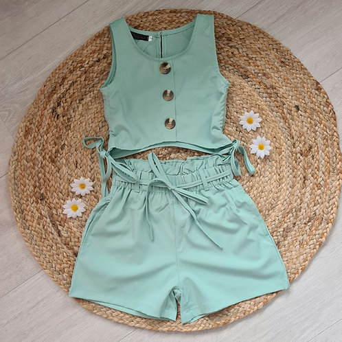 Green crop & high waisted shorts