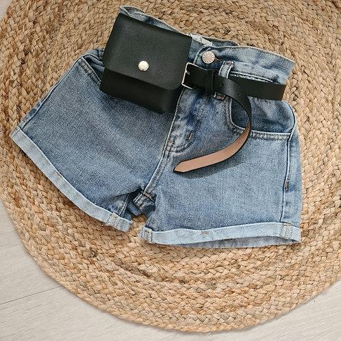 Denim shorts with purse belt