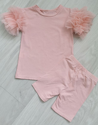 Pink Ruffle Top & Cycling Shorts