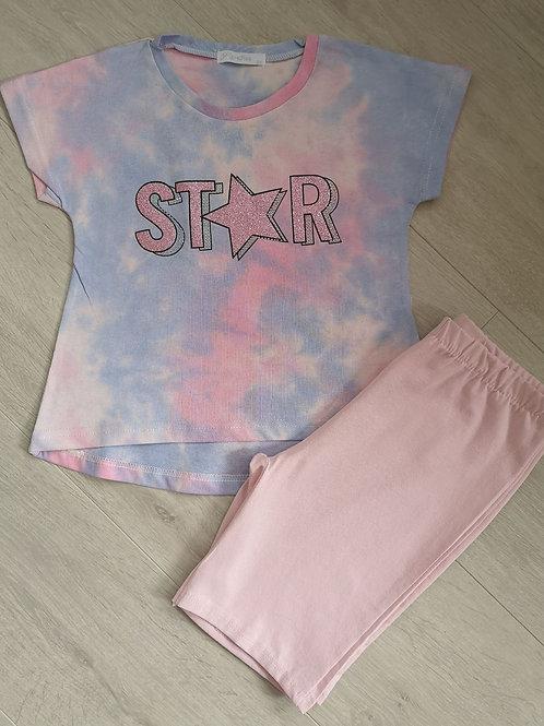 Tie Dye Star Top & Cycling Shorts