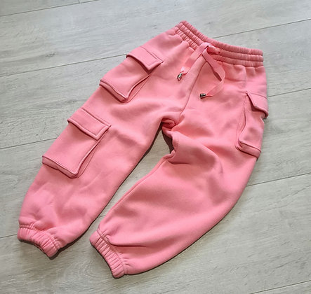 Thick pink cargo joggers