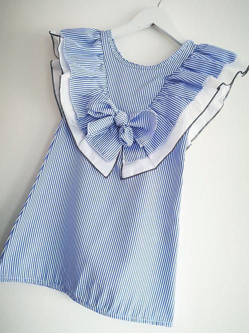 Blue Striped Ruffle Dress