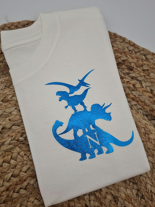 Ollie&Millie's Own - Personalised Dino stack Initial Tee