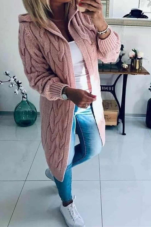 Thick Cable Twisted Hooded Cardigan
