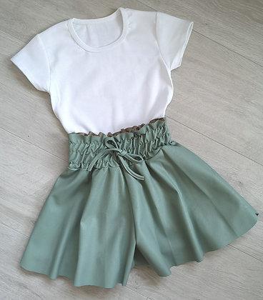 Green ruffle waist shorts and top
