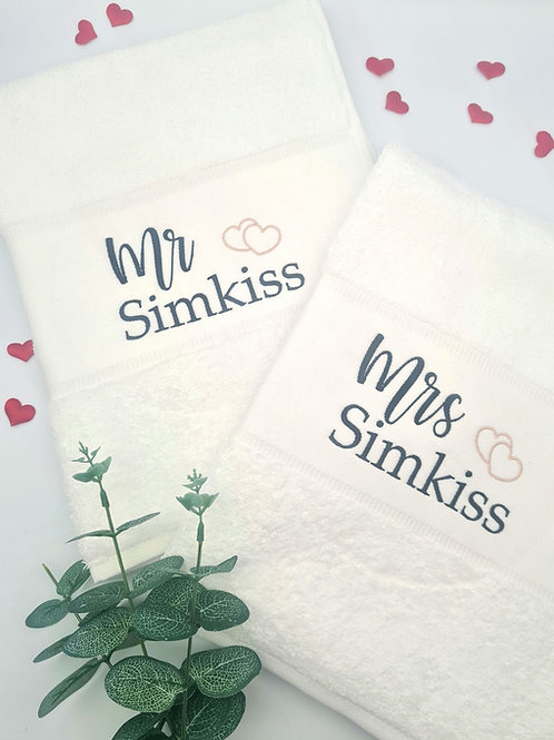 Personalised embroidered Hand Towels