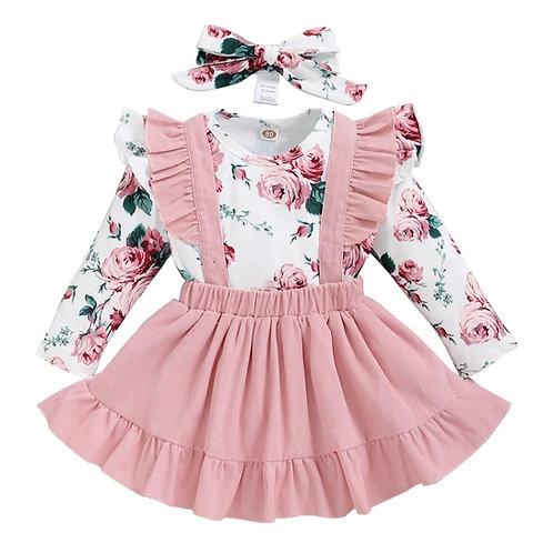 Pink floral pinafore set