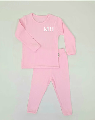 Sweet pink personalised luxury ribbed lounge wear
