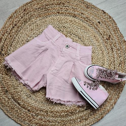 Pink denim flare shorts