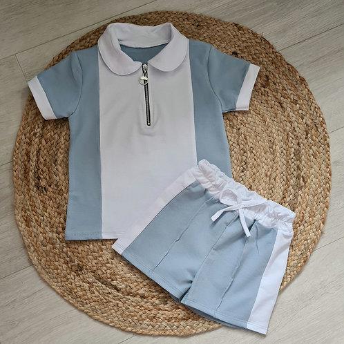 Blue and white colour block summer set
