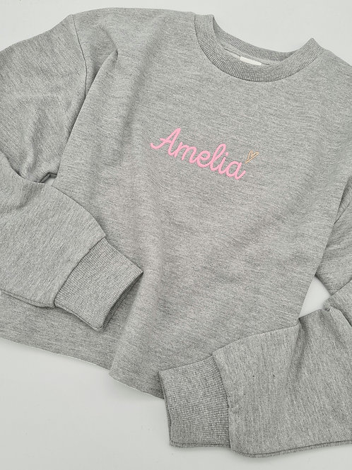 Embroidered cropped sweater