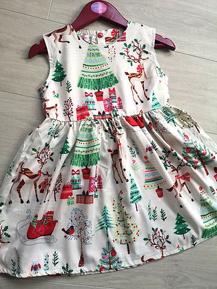 White Christmas Print Dress