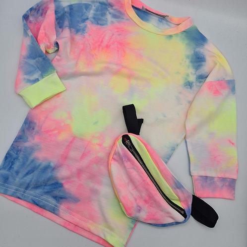 Tie dye long sleeved top & bag