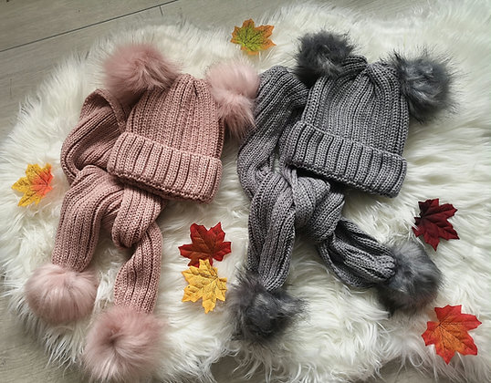 Knitted pompom hat and scarf set