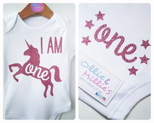 Ollie&Millie's Own - Glitter Unicorn Age Vest/Top