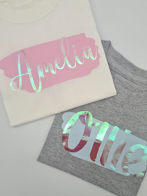 Ollie&Millie's Own - Personalised holographic name Tee