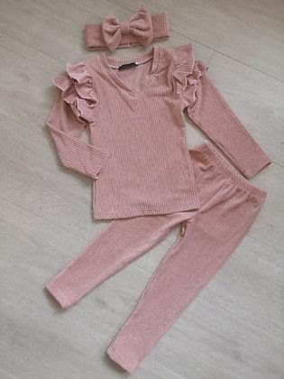 Dusky Pink Glitter Ribbed Lounge Set