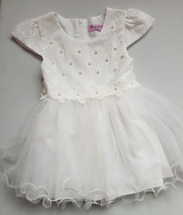 White Flower Party Dress