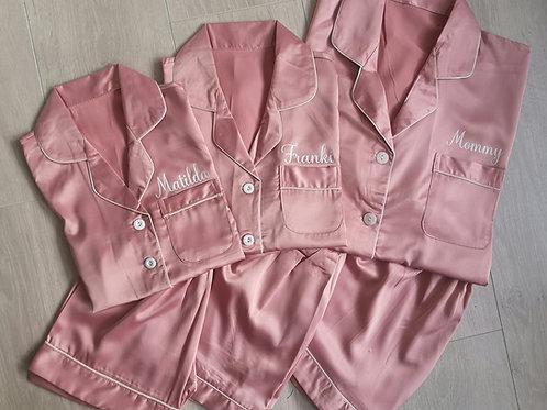 Ollie&Millie's Own - Satin dusky pink pjs