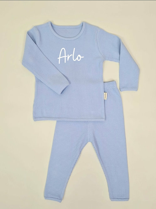 Powder blue embroidered personalised luxury ribbed lounge wear