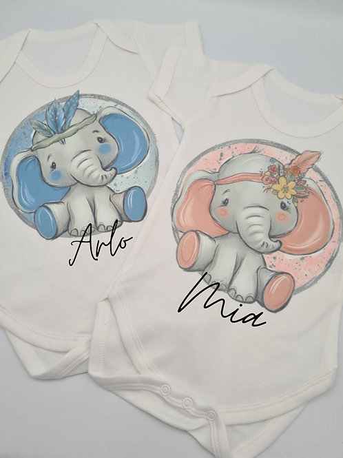 Personalised Cute Elephant Bodysuit