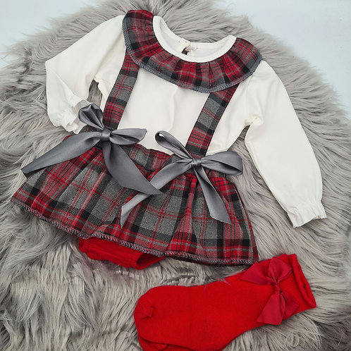Grey and red tartan 2 piece Set