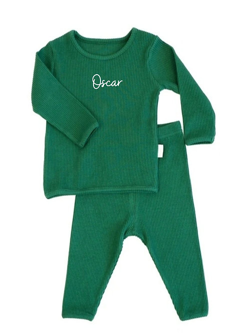Forest green personalised luxury ribbed lounge wear