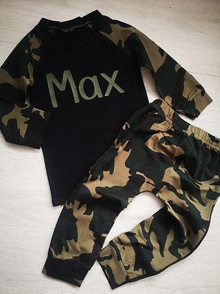 Personalised black camo print set