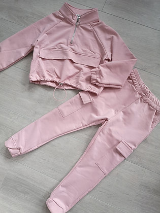 Pink Cropped Jumper and Camo Leggings