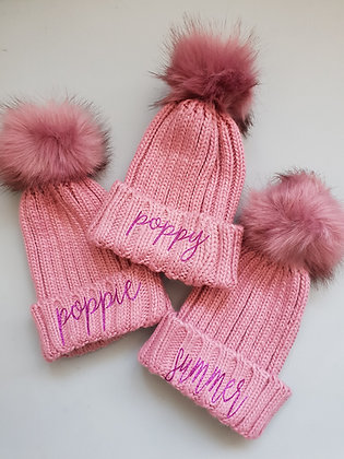 Ollie&Millie's Own - Personalised Pink Pompom hat