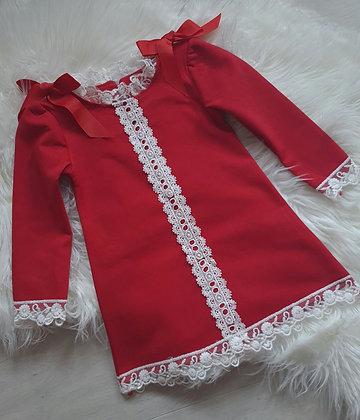 Red Lace Tunic Dress