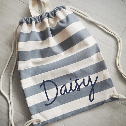 Ollie&Millie's Own - Personalised Striped Drawstring Bag